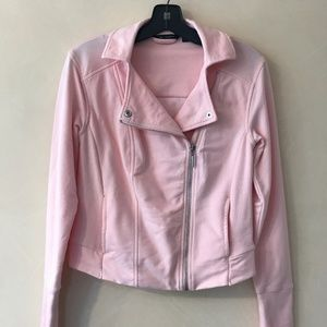 H by Halston French Terry Moto Jacket, pink size 2